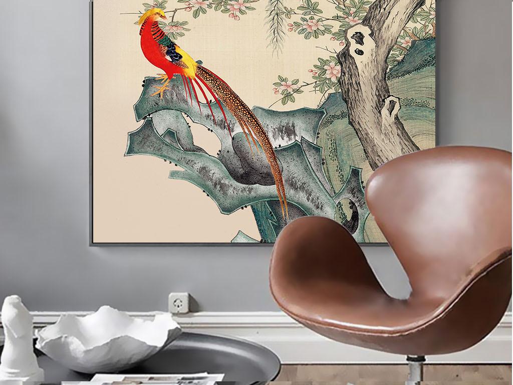 手绘柳树花鸟装饰画玄关