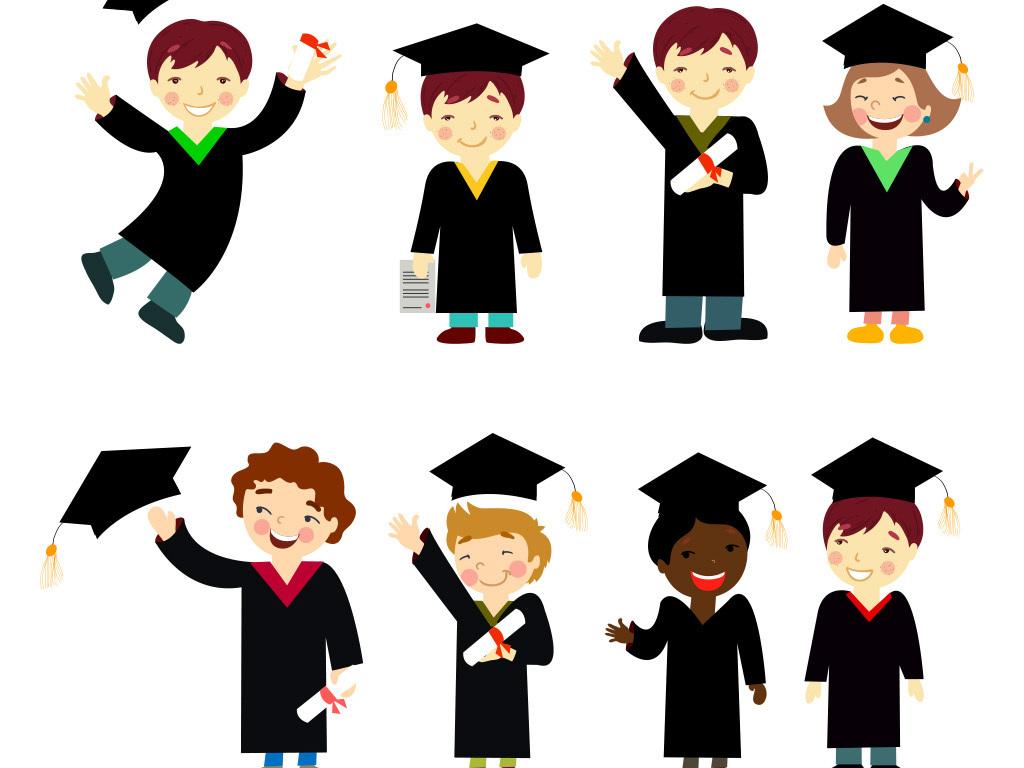 卡通小博士博士帽毕业季素材图片