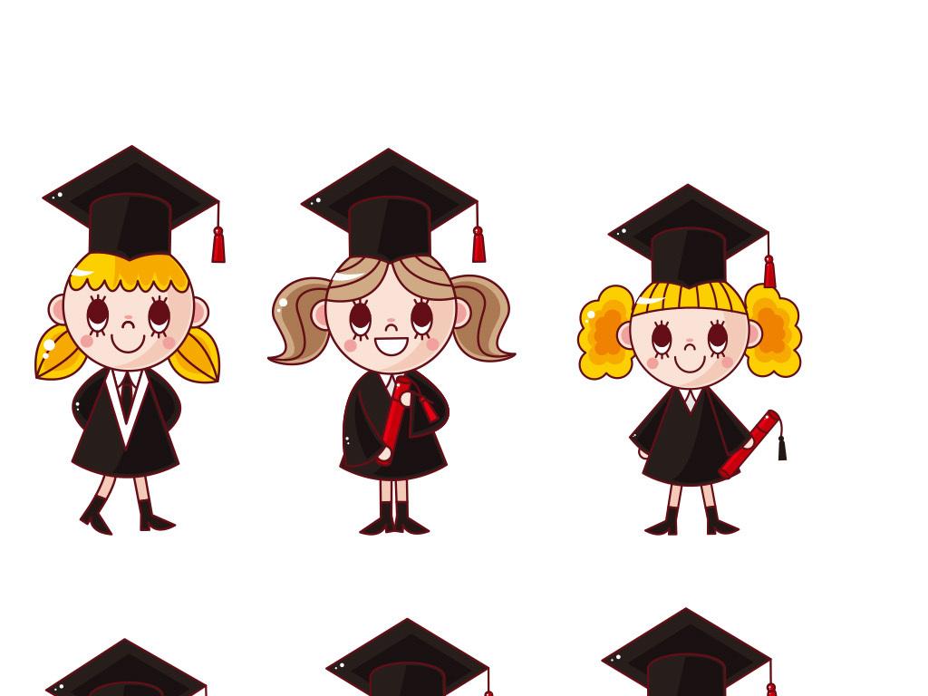 卡通小博士女博士毕业季素材