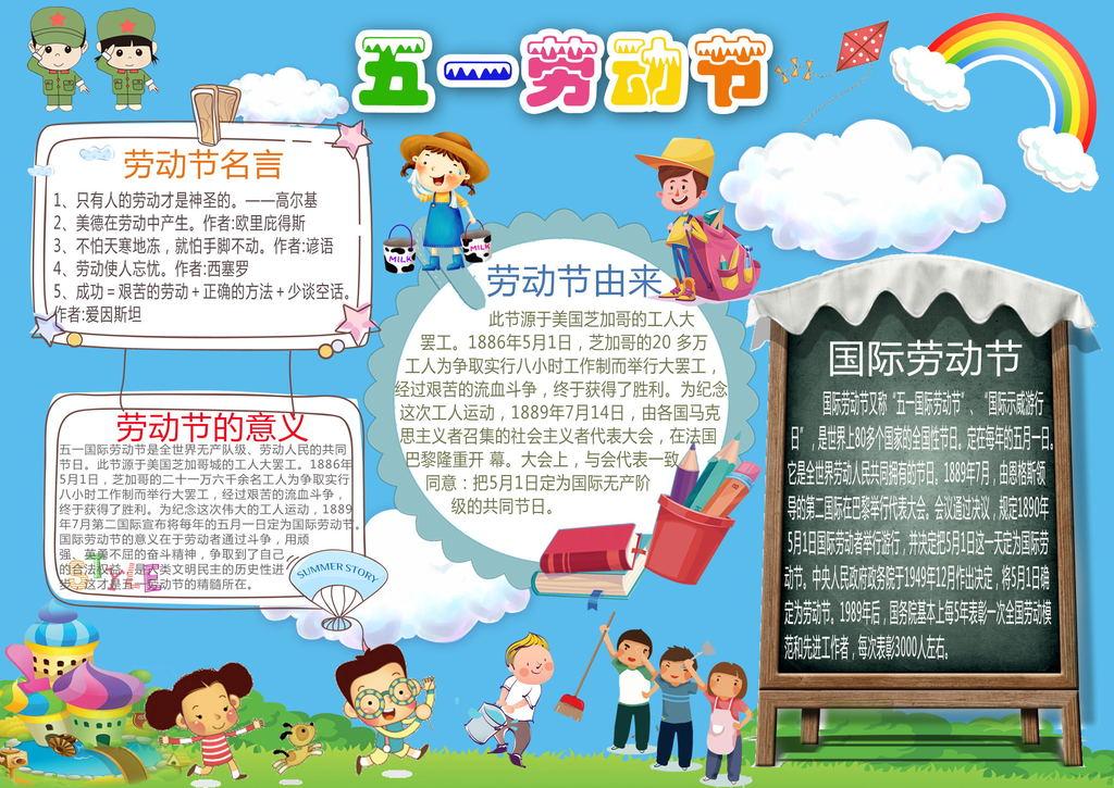 51劳动节小报庆祝五一旅游假期做家务手抄报