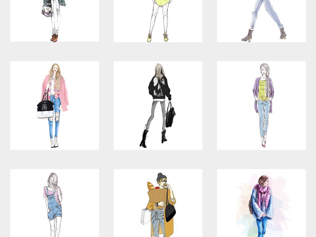 手绘服装模特街拍绘画时尚女孩插画png免扣素材