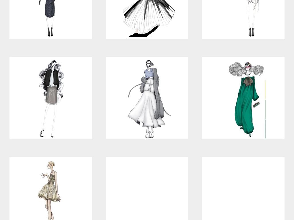 手绘简约时尚女装设计手稿png素材