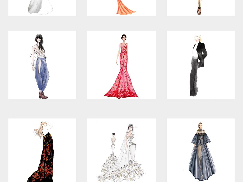 高端女装时尚手绘美女晚礼服模特插画png免扣素材