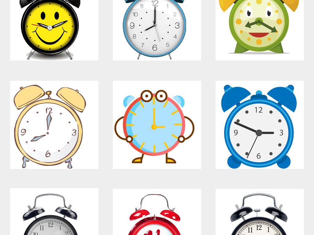 可爱卡通手绘闹钟海报设计图片png免扣素材