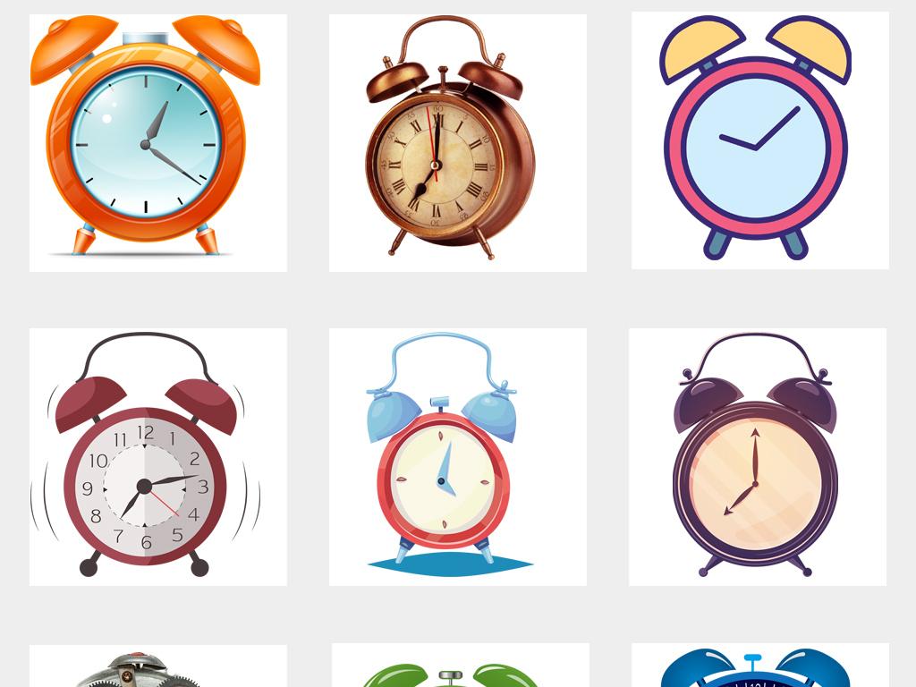 原创可爱卡通手绘闹钟海报设计图片png免扣素材