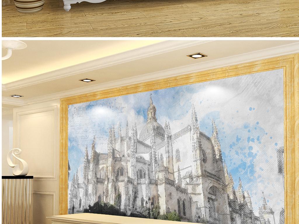 背景墙 电视背景墙 电视背景墙 > 手绘黑白素描皇宫  素材图片参数