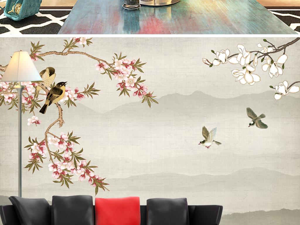 复古手绘花鸟水墨山水背景墙