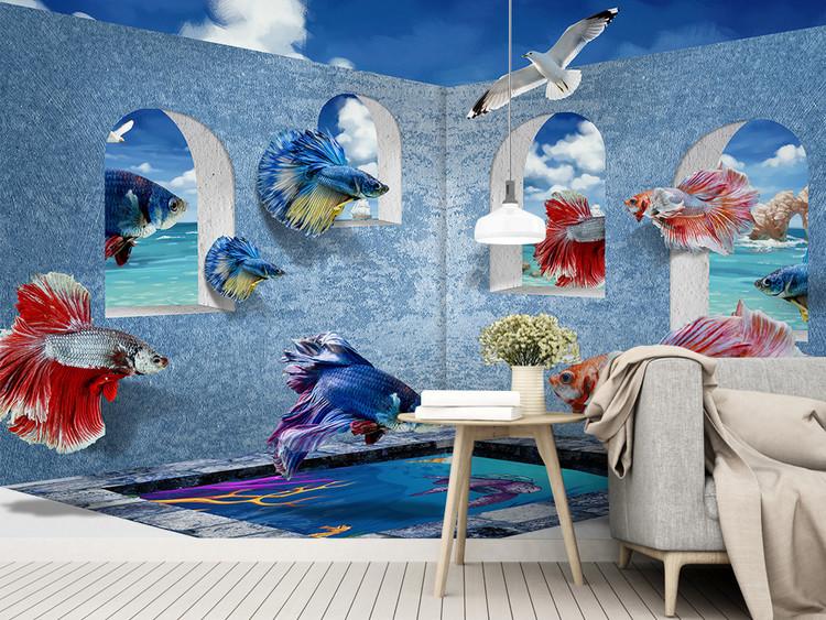 现代3d立体地中海孔雀鱼背景墙