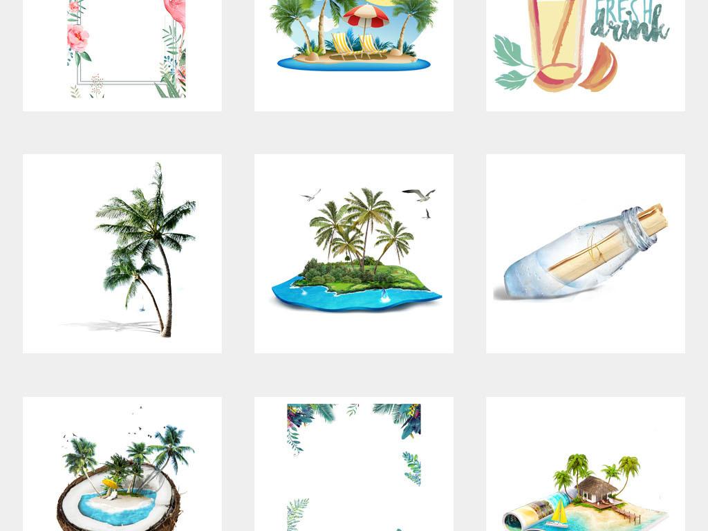 初夏夏装小清新唯美手绘海报背景png元素