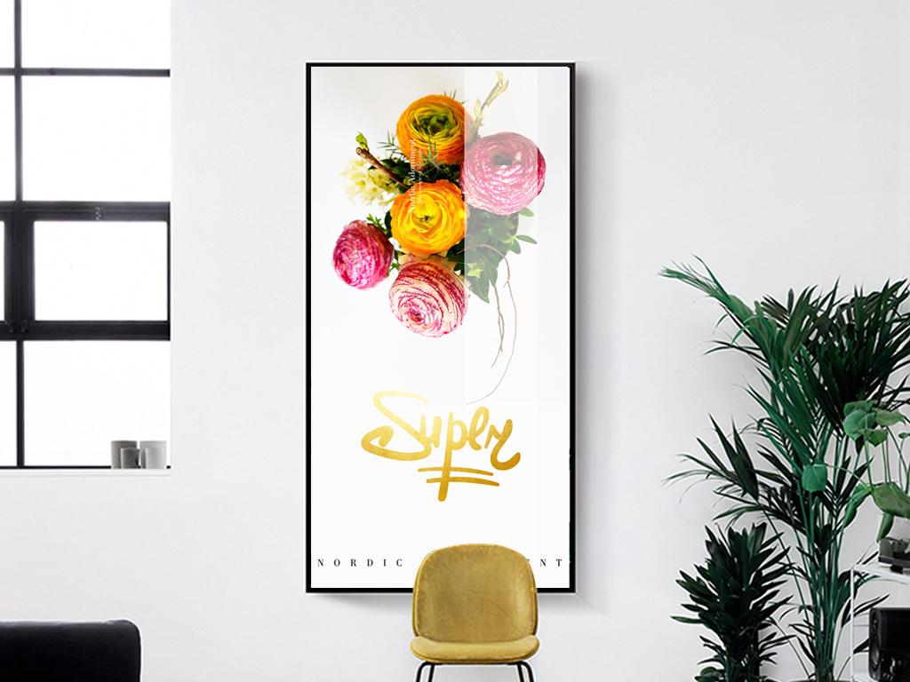 ins北欧风客厅植物花卉装饰画走廊玄关
