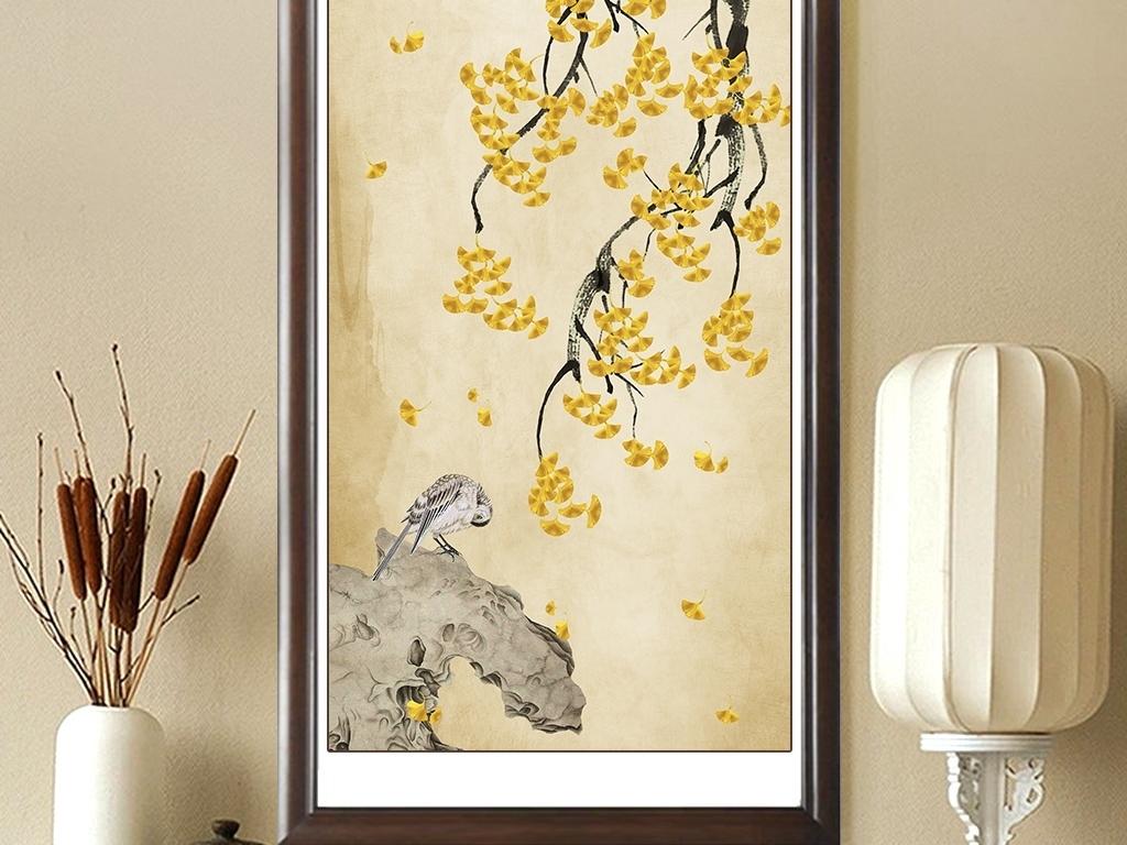 背景墙|装饰画 玄关 山水花鸟玄关图 > 中式手绘银杏工笔花鸟竖式背景