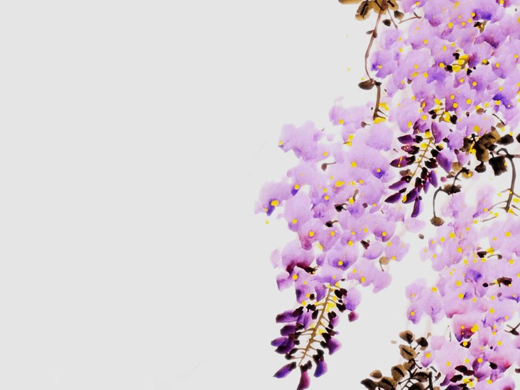 新中式手绘水墨紫藤花背景墙