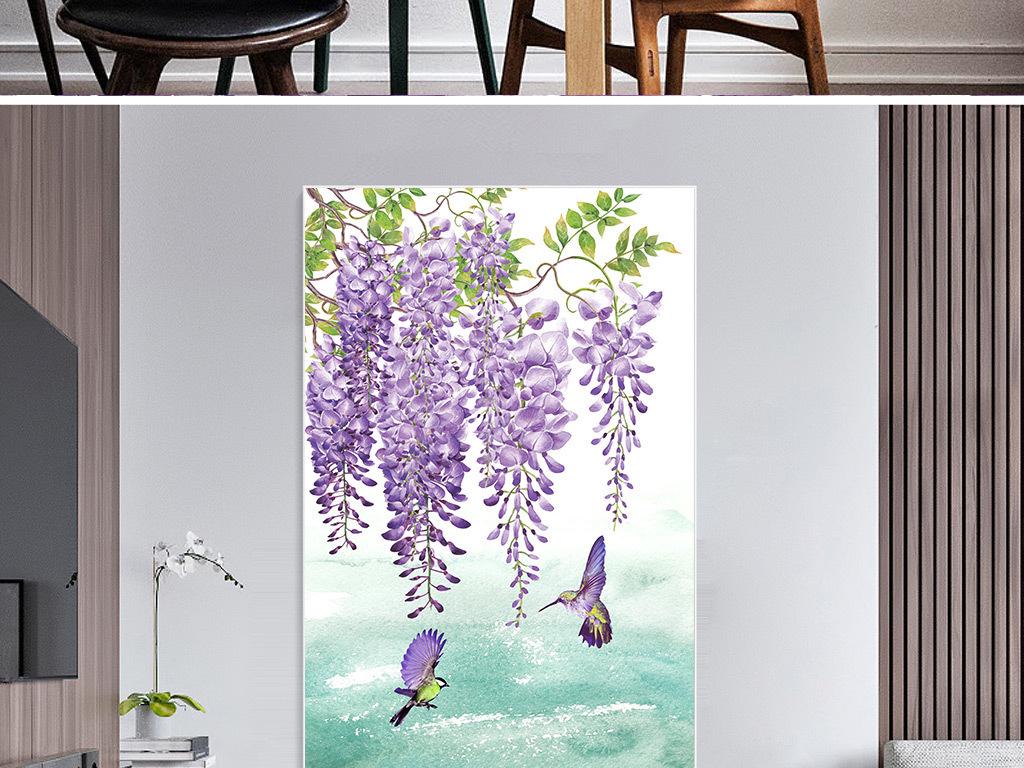 小清新手绘紫藤花蝴蝶玄关装饰画