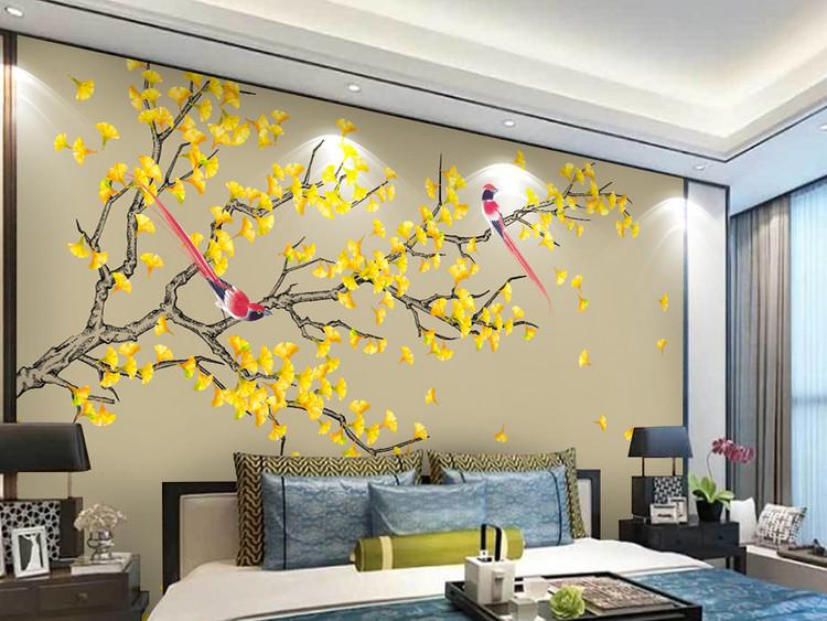 银杏手绘工笔花鸟新中式背景墙装饰画