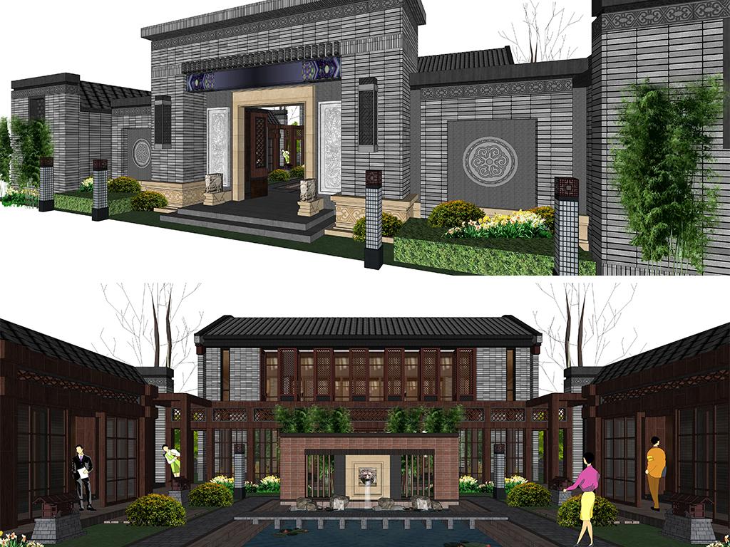 住宅景观中式景墙新亚洲景墙新中式景墙中式围墙中式廊架中式图片