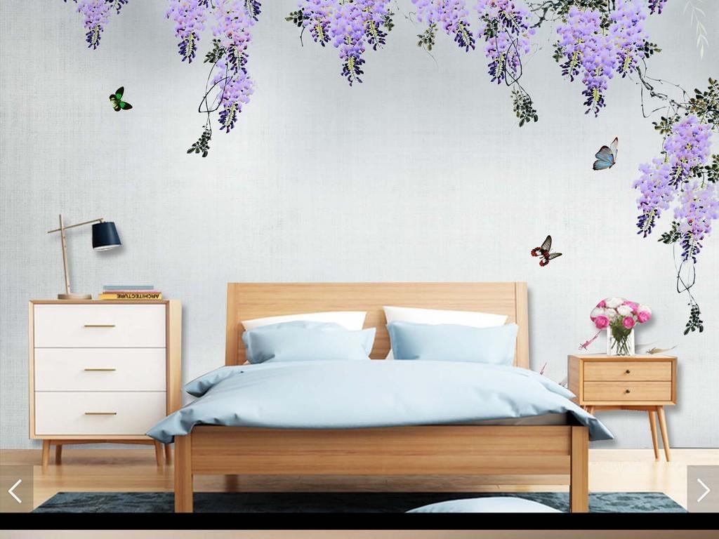 新中式手绘水墨紫藤花背景墙装饰画