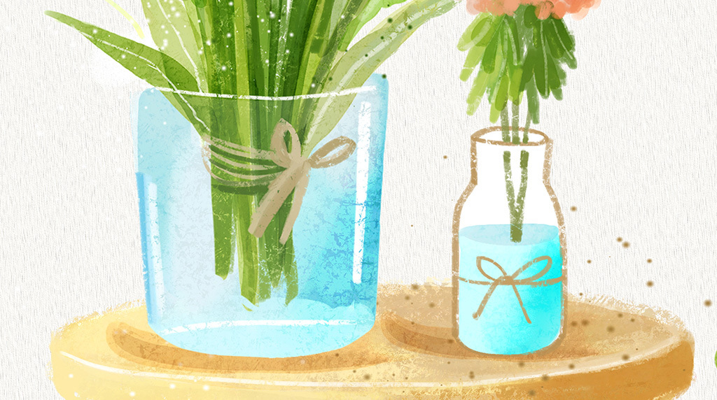 北欧风格ins绿植玄关装饰画竖版植物墙画插画盆栽