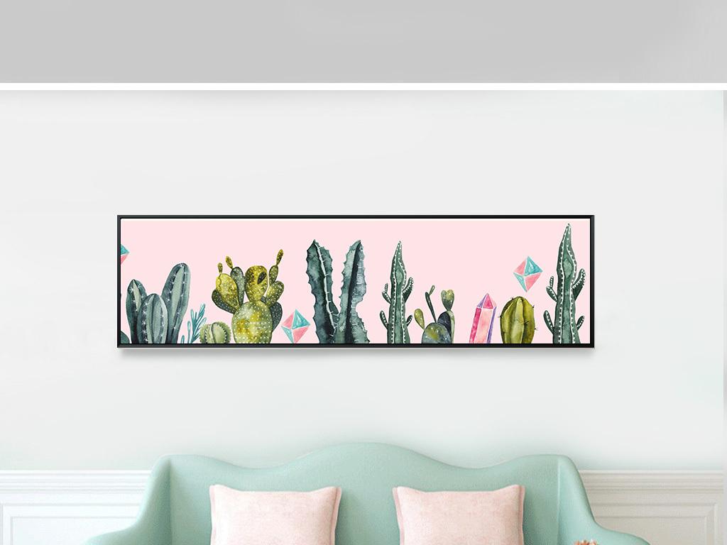 ins现代简约北欧小清新植物仙人掌装饰画床头画