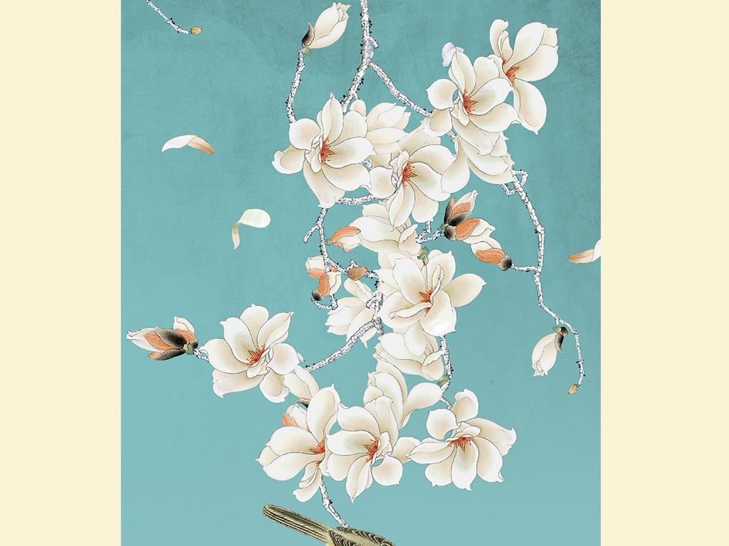 新中式玉兰花手绘工笔花鸟玄关背景墙装饰画