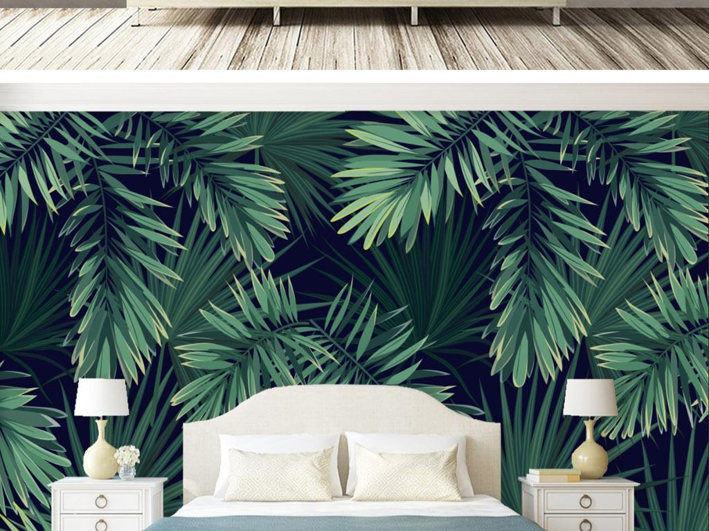 背景墙|装饰画 电视背景墙 手绘电视背景墙 > 欧式复古手绘雨林芭蕉叶