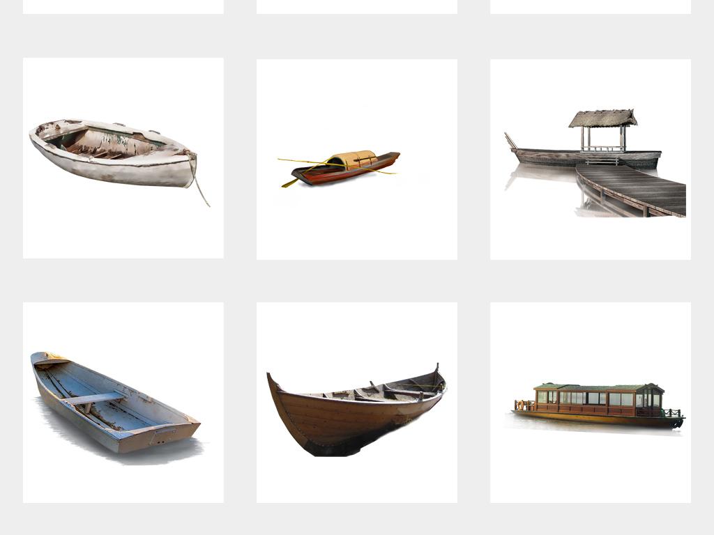 手绘中国风木舟小船海报图片png免扣素材