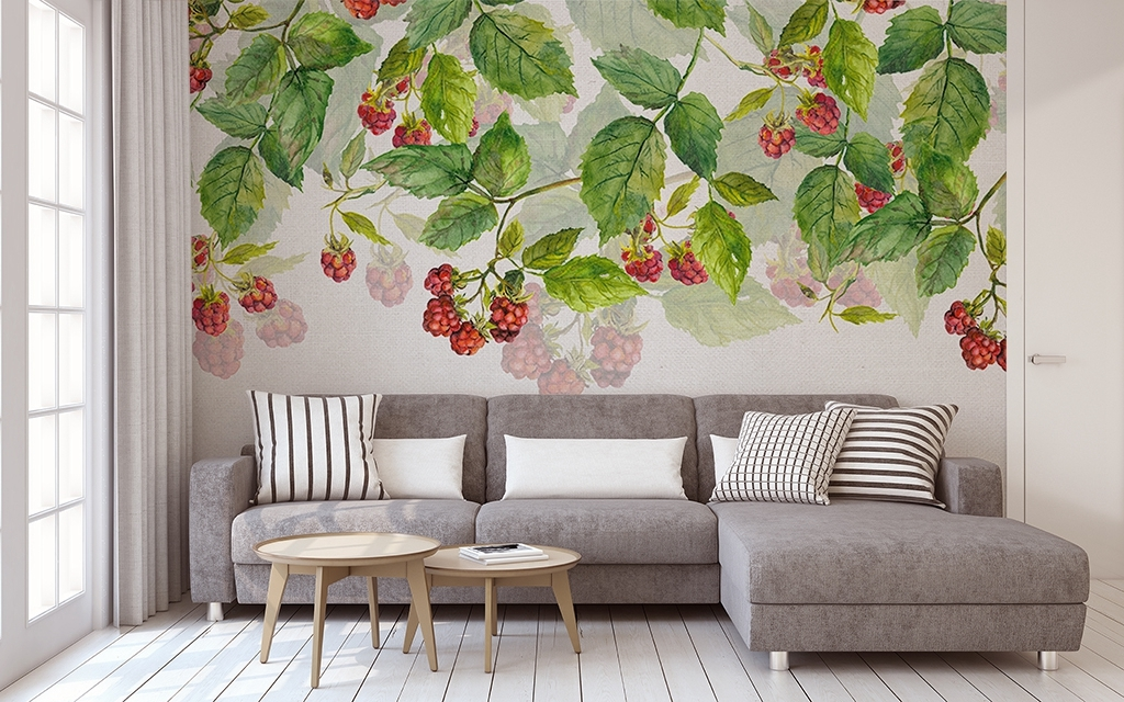 浪漫水彩藤蔓绿叶手绘背景墙壁纸