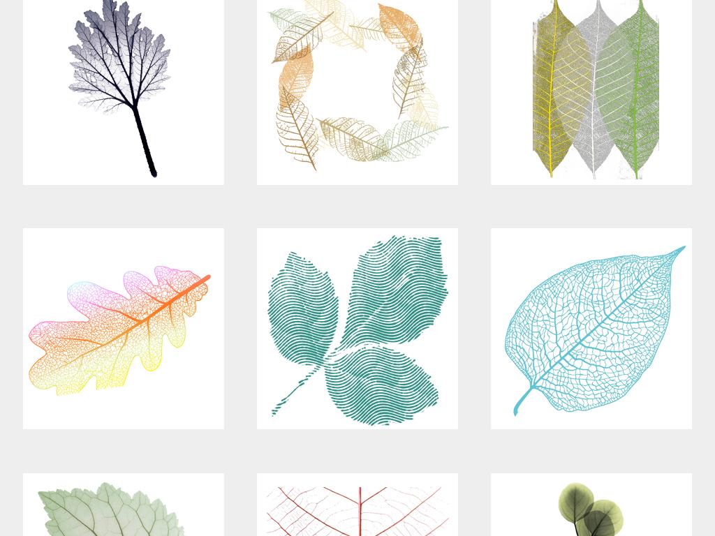 唯美手绘叶子树叶纹理背景设计png素材