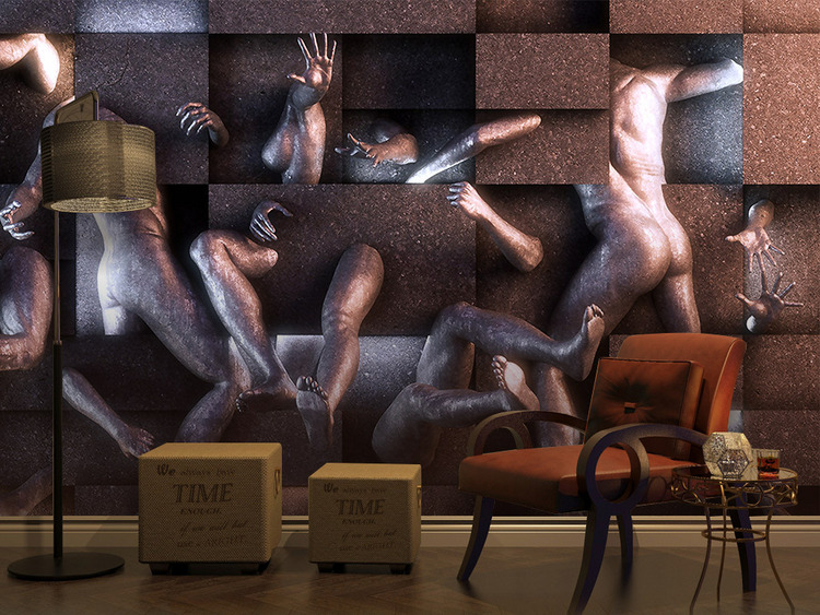 欧式3D立体浮雕裸体人体艺术几何背景墙