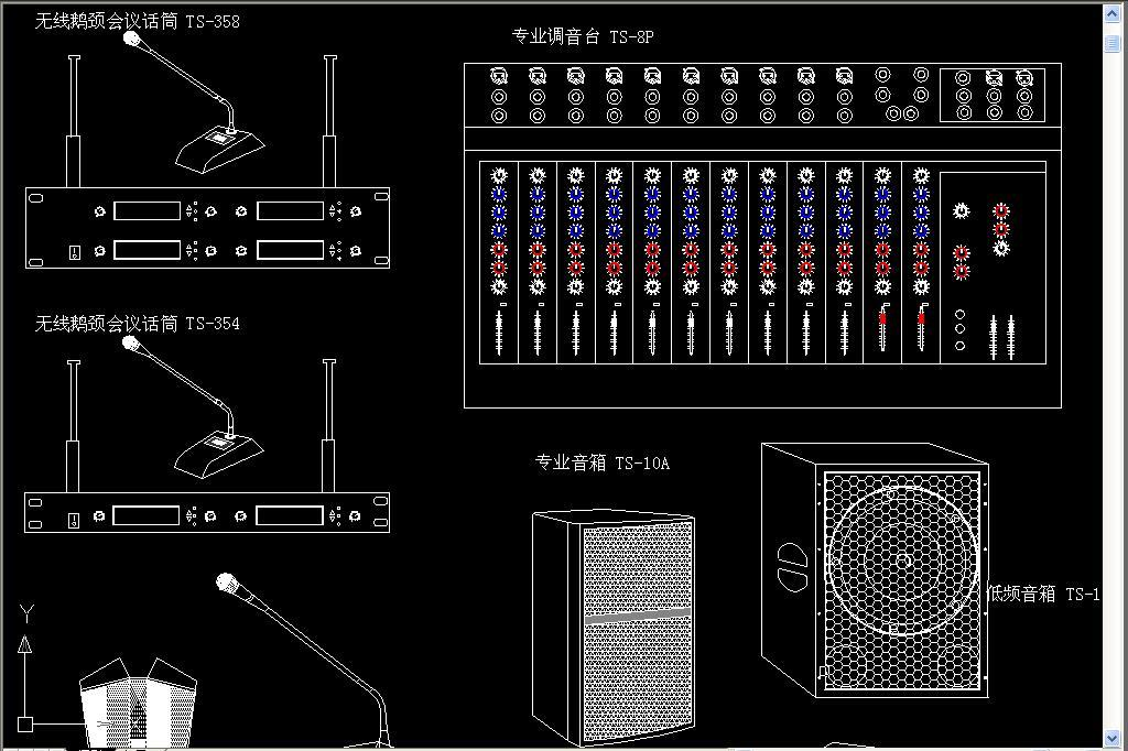 会议音响器材cad图库平面设计图下载(图片0.59mb)