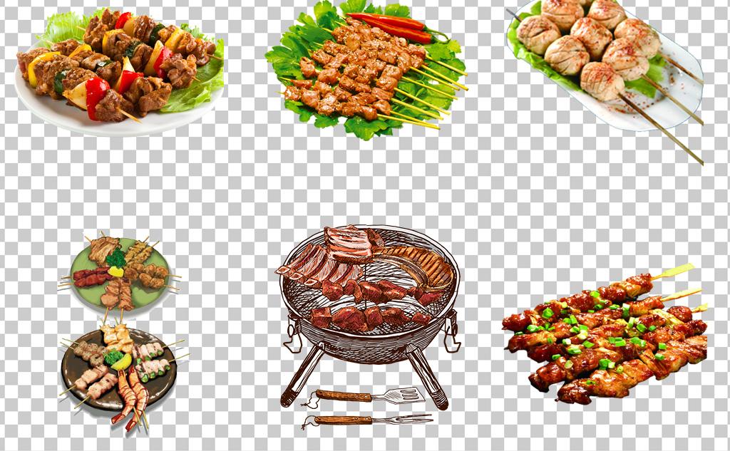0477烧烤烤肉烤串撸串靠鸡翅卡通手绘烧烤盘夏季最爱舌尖上的美食素材