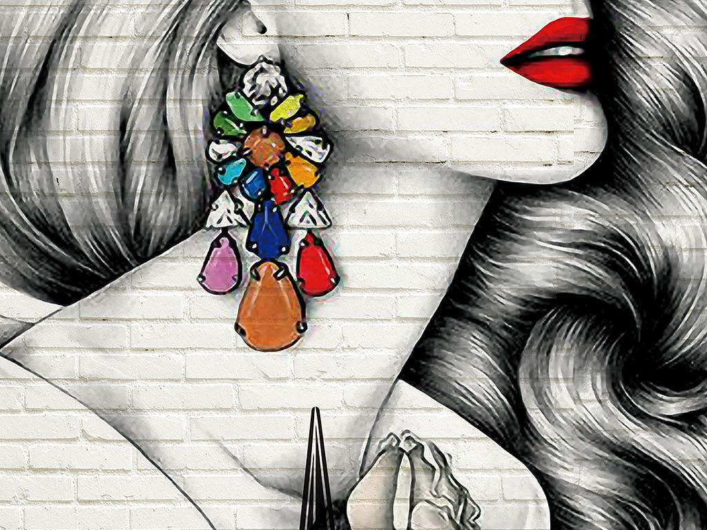 欧美手绘潮流理发店背景墙美妆彩妆纹绣