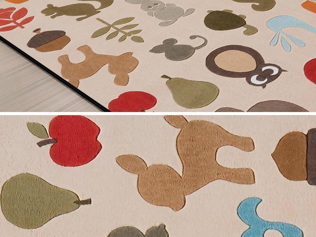 北欧现代简约手绘动物儿童房书房卧室地毯