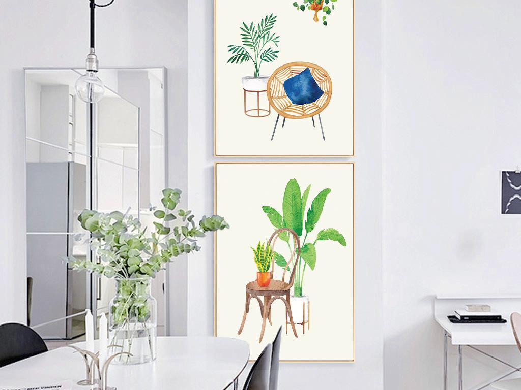 北欧风格ins绿植三联装饰画绿色小清新图片
