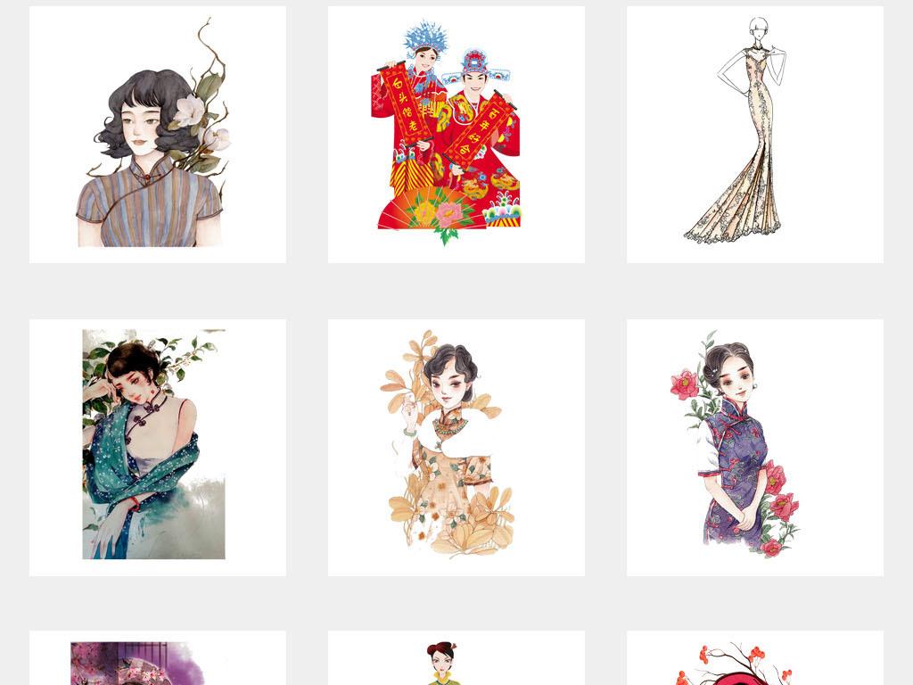 设计元素 其他 中国风素材 > 中华古典满族旗袍旗袍服饰海报png素材