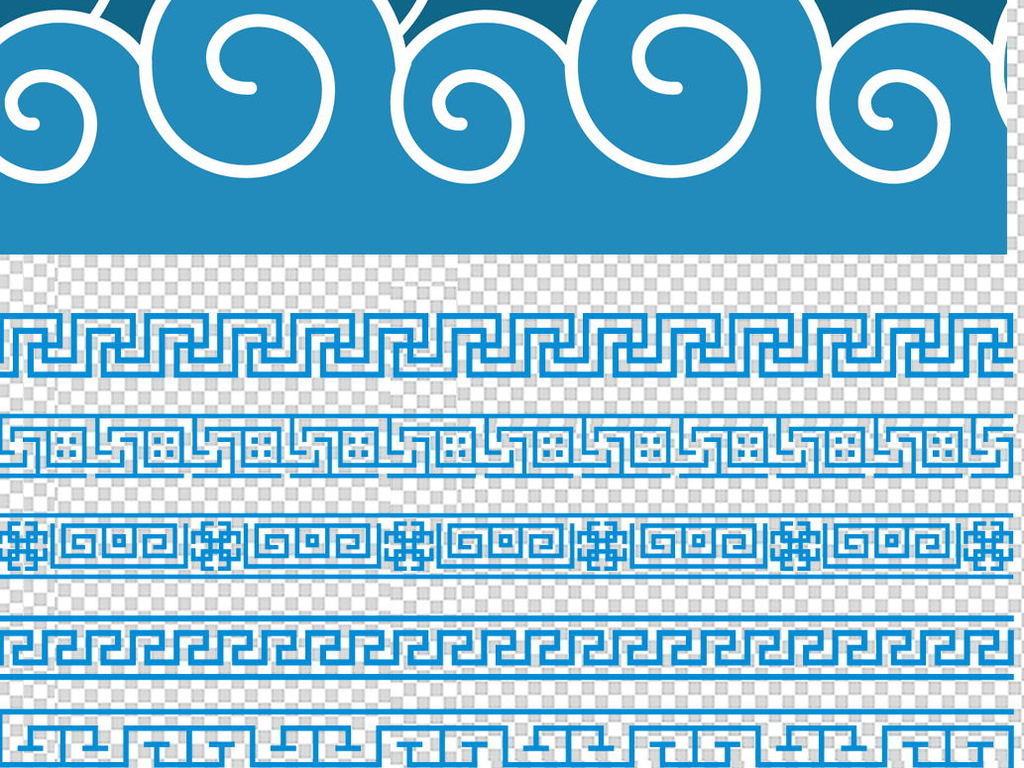 中式古典祥云花纹底纹海浪图案背景psd素材