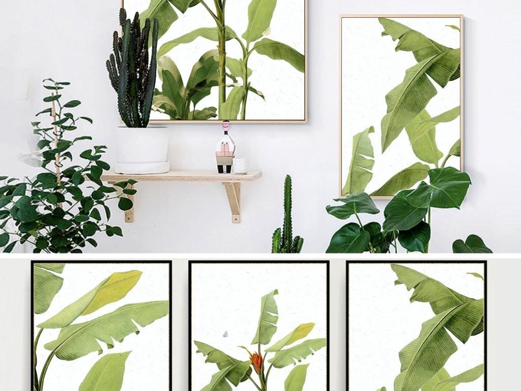 小清新手绘芭蕉叶绿色植物田园风格北欧装饰画