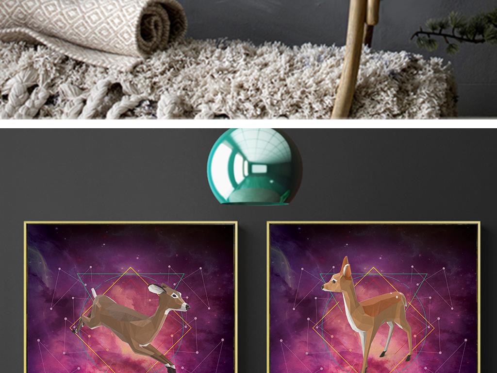 抽象手绘油画星空森林麋鹿飞鸟装饰画