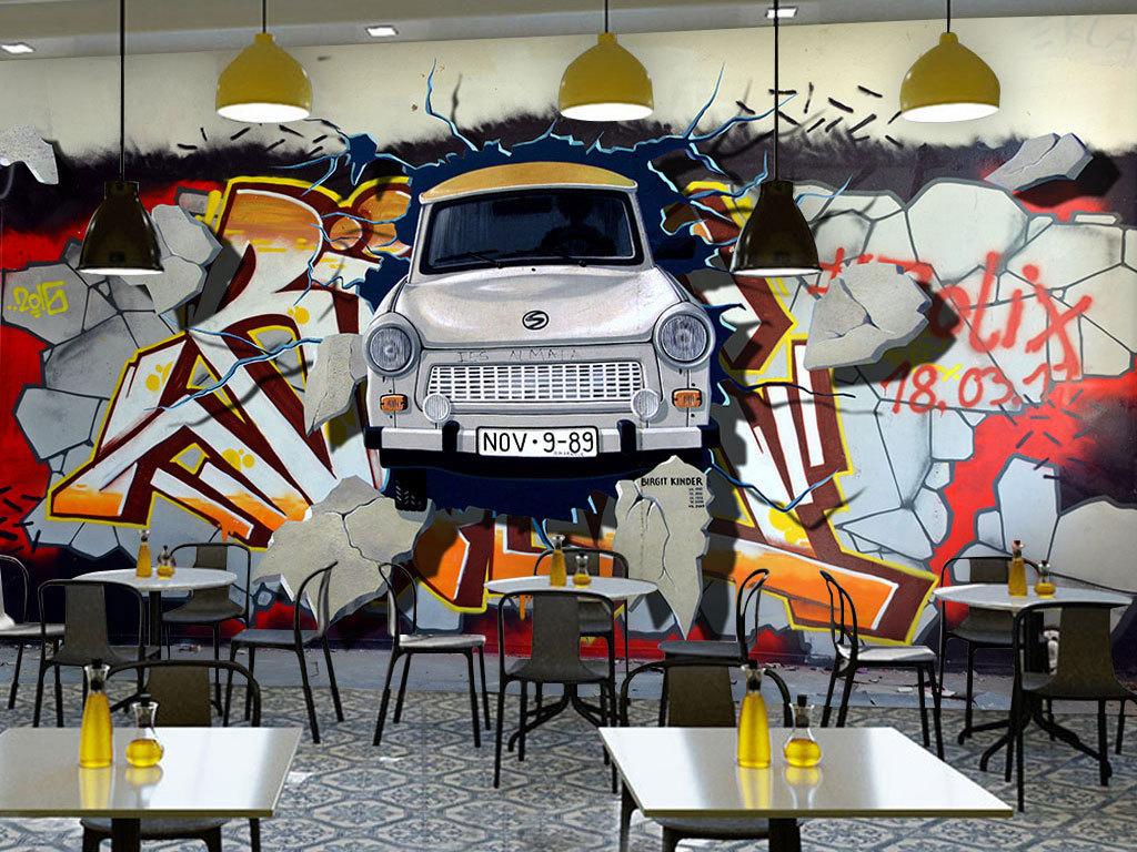 复古怀旧3d手绘涂鸦破墙汽车壁纸