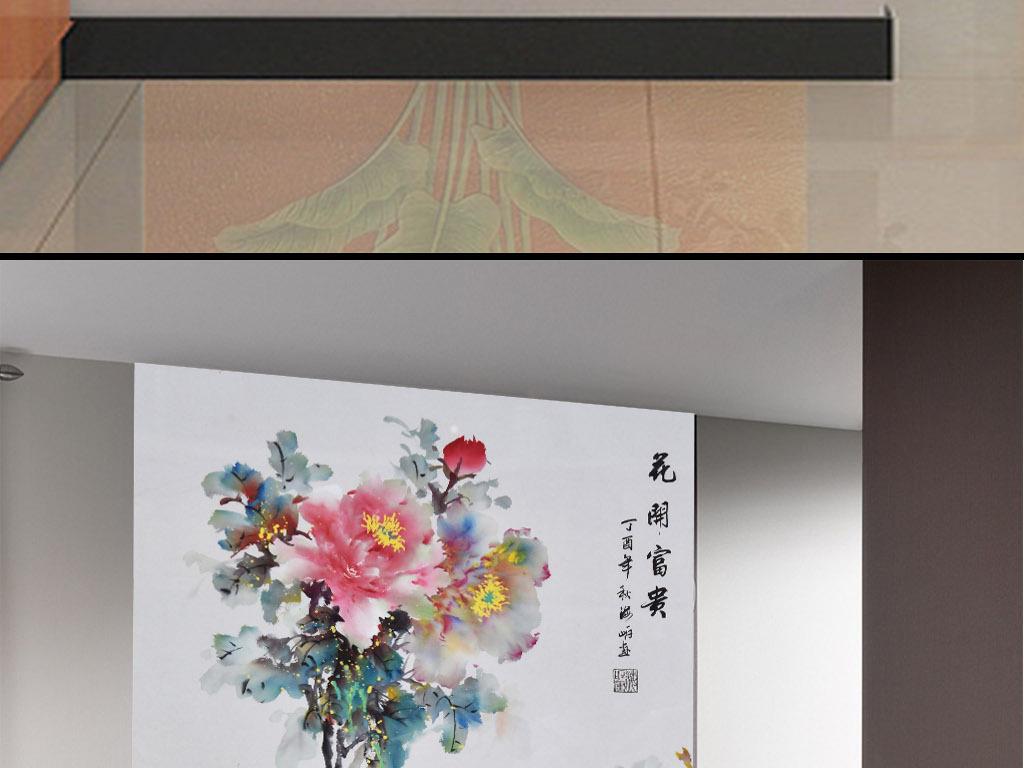 高清手绘花开富贵牡丹花孔雀油画玄关