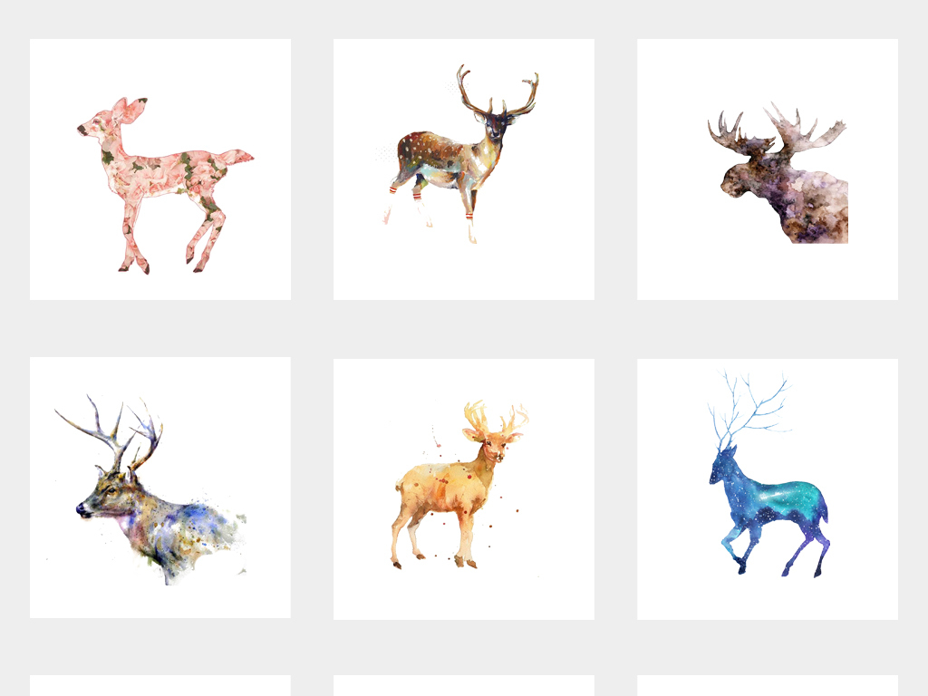 手绘水彩鹿头麋鹿小鹿创意png素材