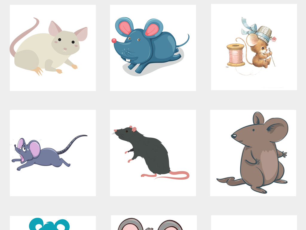 可爱手绘卡通小老鼠松鼠仓鼠png免扣素材