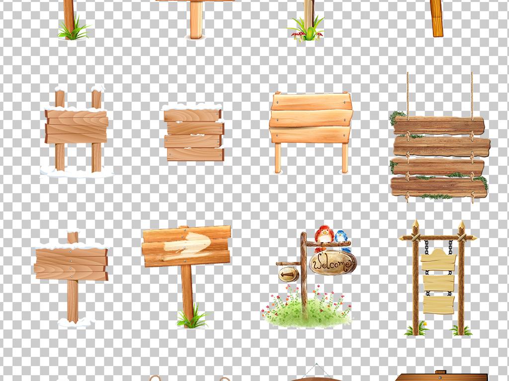 0483路牌路标指示牌森板木头卡通手绘店铺广告牌素材免抠