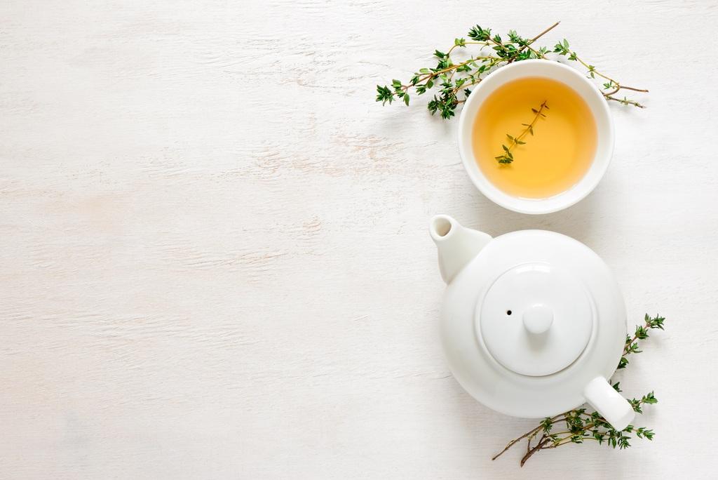 小清新文艺茶叶茶杯白色背景设计素材绿茶春茶图片
