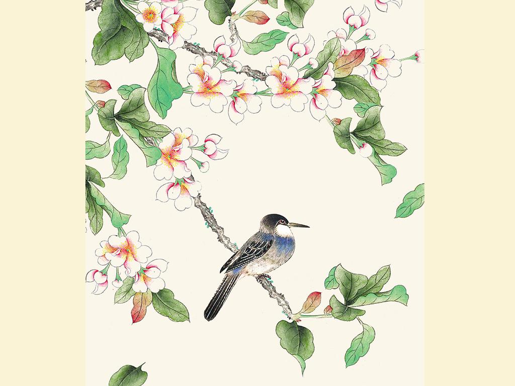 海棠花手绘工笔花鸟新中式玄关背景墙装饰画