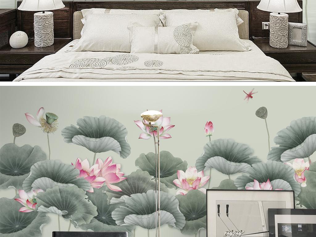 新中式手绘工笔荷花电视沙发背景墙爱莲说