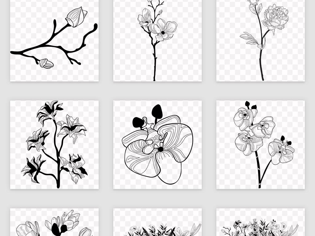eps png黑白手绘花卉植物高清素材