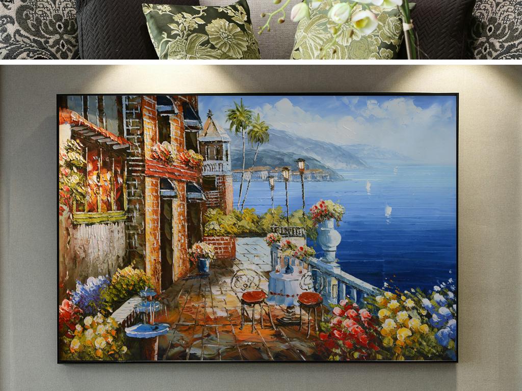 纯手绘艺术高清海景油画