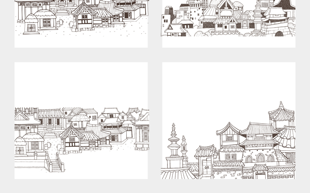 中国卡通古代建筑小镇古镇手绘插画速写线描图案png素材
