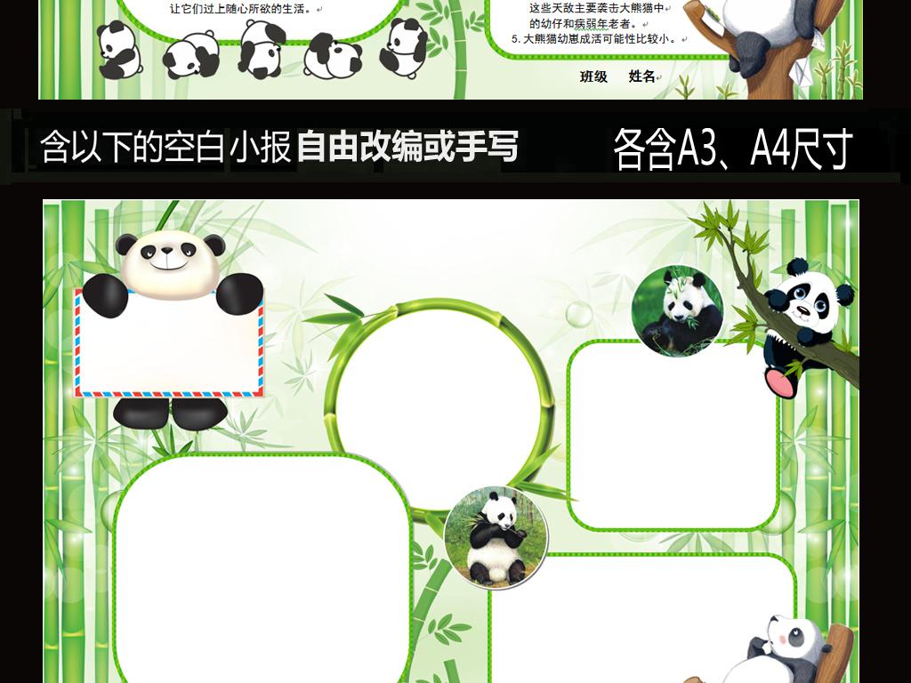 word电子小报模板国宝大熊猫动物小报图片素材_word