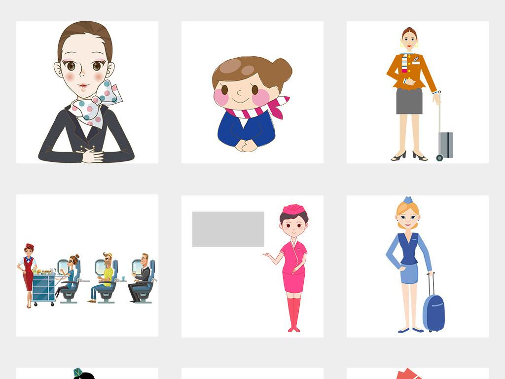 卡通手绘空姐美女图片海报素材